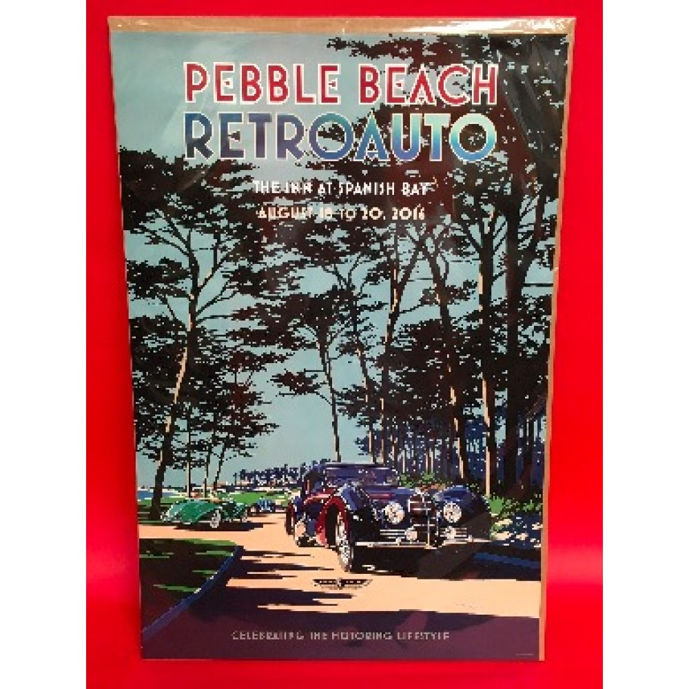 Pebble Beach Retro Auto August 18 - 20 2016 Official Event Poster